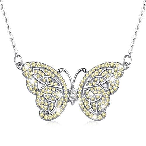 EUDORA Colgante de Mariposa para Mujer Collar Elegante Plata de Ley 925,Collar de Mariposa Regalos Originales para Mujer, Largo de Cadena 45,7cm