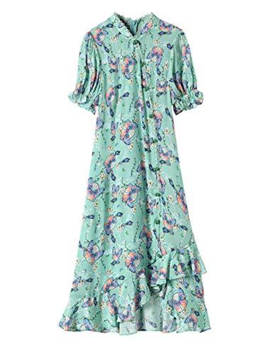 Mujeres Verde Delgado por Encima de la Rodilla Vestido de Seda Impreso Mariposa Volante romántico 2292 L
