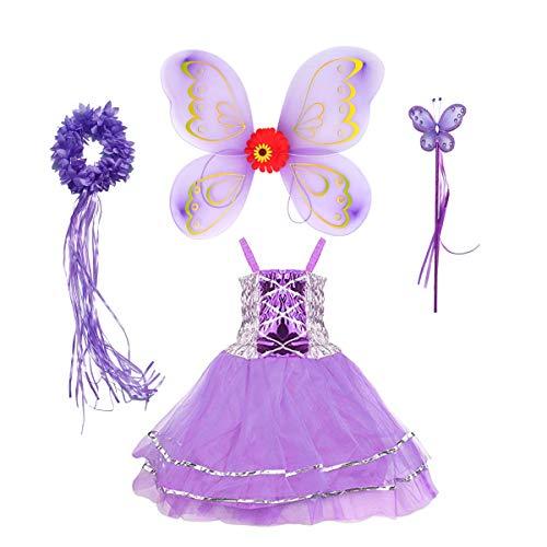 Tante Tina Disfraz de hada de mariposa para niña, 4 piezas, con vestido de tul, alas, varita mágica y diadema, adecuado para niños de 2 a 8 años, color lila