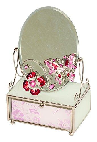 Mele & Co - Joyero con espejo, diseño de mariposas, color rosa