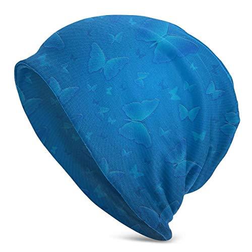 tyui7 Gorro con diseño de Mariposa de Color Azul, Ligero, Holgado, Holgado, elástico, Turbante para Hombres y Mujeres, Gorro de confinamiento, Diademas
