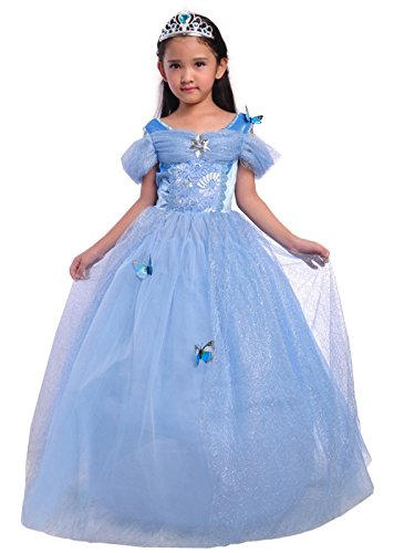 Lito Angels Disfraz de Princesa Cenicienta con Mariposa para Niña, Vestido de Fiesta de Cumpleaños, Talla 4 años, Azul