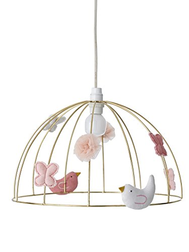 VERTBAUDET Pantalla de lámpara de techo Jaula de Pájaros Amarillo UNICA
