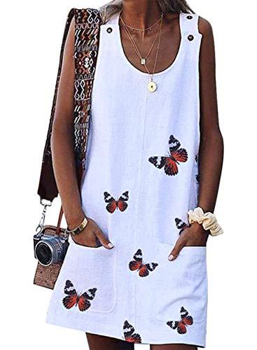 FOBEXISS Vestido casual de verano con cuello redondo, sin mangas, estampado de mariposas, botones, vestido suelto con bolsillos