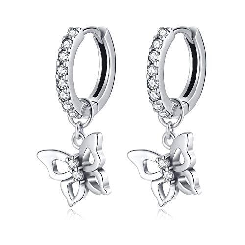 Qings Mariposa Aros Pendientes Plata de Ley 925, Pendientes Colgantes Hipoalergenicos Aretes para Niña y Mujer