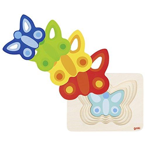 Goki-57486 Puzzles de maderaPuzzles de maderaGOKIPuzzle de Capas, la Mariposa II, Multicolor (57486) , color/modelo surtido
