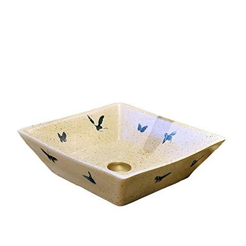 Cuadrado de cerámica del patrón de mariposa Cuenca encimera Lavabo Baño lavan Manos piscina for lavabo Lavabos