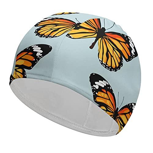 Gorro de baño flexible con diseño de mariposas, duradero, elástico, para adultos, niños, mujeres, transpirable, para cabello corto o largo