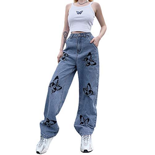 Loalirando Vaqueros Rectos para Mujer Pantalones Largos de Cintura Alta con Bolsillos Jeans Holgado y Elástico de Estilo Informal y de Moda (Mariposa-Azul, L)