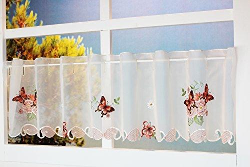 Kamaca Lovely Butterflies - Cortina de cocina (30 x 150 cm), diseño de mariposas y flores