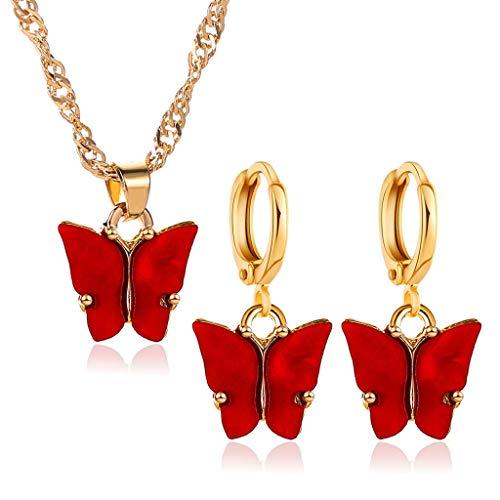 jiheousty Chic Acrílico Mariposa Colgante Pendientes Colgantes Pequeño y Delicado Mini Mariposa Colgante Collar Conjunto de Joyas para Mujeres Niñas