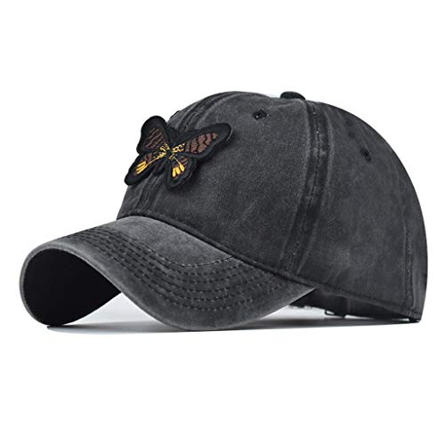 JIACUO Gorra de béisbol de algodón Lavado Vintage Unisex Sombrero Bordado de Mariposa Bordado 3D