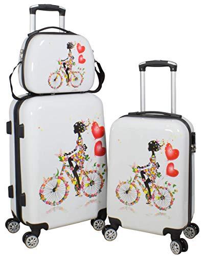 Warenhandel König 165527–Juego de maletas rígidas de policarbonato ABS, 3piezas, Juego de maletas, maletas de viaje, equipaje de mano, maletas con ruedas rígidas, con estampado Multicolor Martinique XL L M