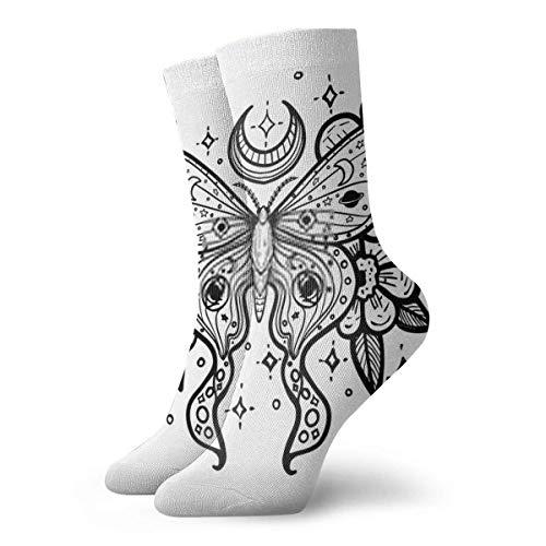 XCNGG Calcetines de mariposa con flores y estrellas, estampado de tatuaje en la camiseta, calcetines de senderismo para hombre, calcetines con amortiguación, calcetines de tripulación