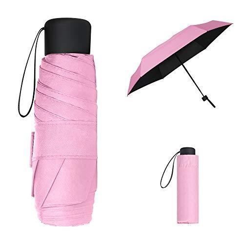Vicloon Mini Paraguas del Sol,Paraguas de Viaje Portátil con Diseño de Esqueleto Mejorado y 210T Negro Tela de Goma, Paraguas Plegables y Compacto Resistencia UV & Impermeable (Rosa)