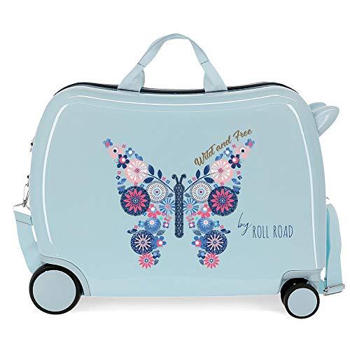 Roll Road Wild and Free Maleta Infantil Azul 50x39x20 cms Rígida ABS Cierre combinación 34L 2,1Kgs 4 Ruedas Equipaje de Mano