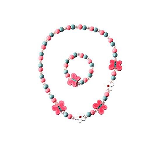 BESTOYARD Pulsera de Dibujos Animados de Colores Mariposa Pulsera Collar de Animales Conjunto de Joyas para niñas niños
