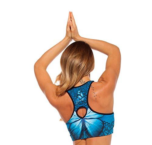 Excess Sujetador Deportivo para Mujer Shock Absorber Alas Top Push Up Fitness Yoga Pilates Running Gimnasio Maillot de Ciclismo 3D de Fiesta Mujer Sexy Italiano Camisetas Dim Azul L