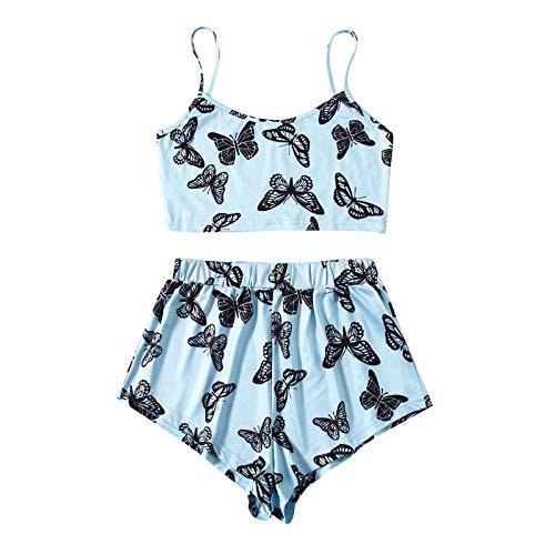 ddfd Pijamas de Dos Piezas con Estampado de Mariposas para Mujer, Pijamas Cortos de Manga Corta con Tirantes Sexy de Verano, Ropa Interior de Dos Piezas CóModa y Atractiva
