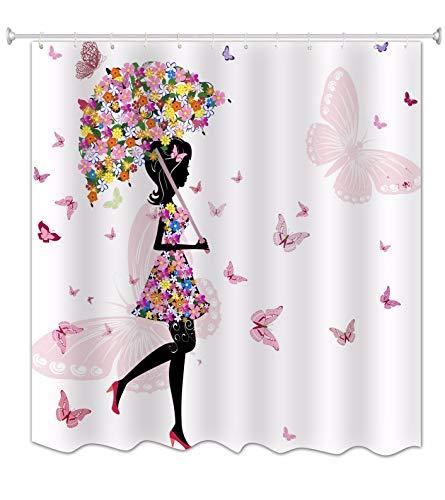 A.Monamour Paraguas Floral Rosa Chica Mariposa con Vestido De Flores Blancos Imprimir Impresión Impermeable Tela Moldeada Cortina De Ducha para Niños Decoraciones De Baño 180X200 CM / 72'X78