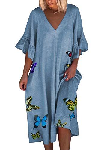 CORAFRITZ - Vestido de playa informal con estampado de mariposas, manga corta para mujer