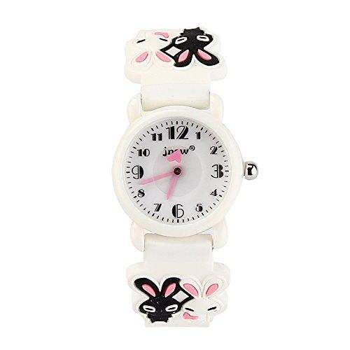 JIAN YA NA Chicas Diseño del Reloj Impermeable 3D Linda del dial Redondo de la Jalea del silicón de Goma de Color Venda de Reloj del Reloj del Cuarzo del Regalo de Blanco (Dos Conejos)