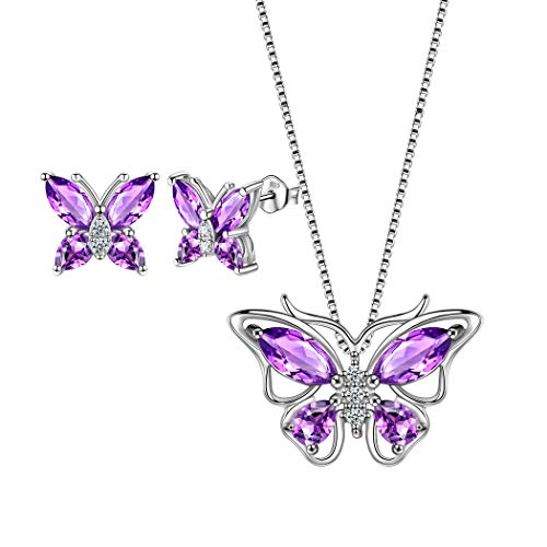 Aurora Tears Conjunto de Joyas con aretes de Collar de Mariposas de Amatista púrpura DS0035W