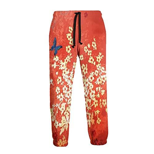 Olverz Pantalones deportivos de mariposa y flor para hombres cintura elástica pantalones deportivos duraderos