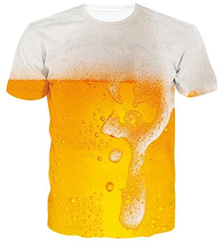 Spreadhoodie Hombre Cerveza T-Shirt Modelo 3D Gato Impresos de Dibujos Animados Casual Camiseta de Manga Corta Tees XL