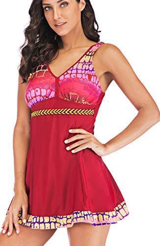 PANOZON Mujer Vestido de Traje de Baño Bañador con Falda Estampas de Alas de Mariposa Mar Playa Piscina (Large, Rojo)