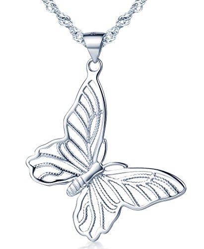 Infinito U- Collares Mujer de Plata 925 Colgante de Mariposas Hueco,Idea Regalo para Mujer Chicas