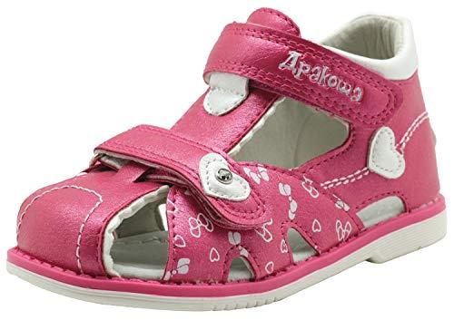 Apakowa Niños Sandalias con Punta Cerrada Niña Niño Zapatos Sandalias de Vestir en Cuero Zapatillas Verano 20-25 Durazno Blanco Rosado (Color : Peach, Size : 23 EU)