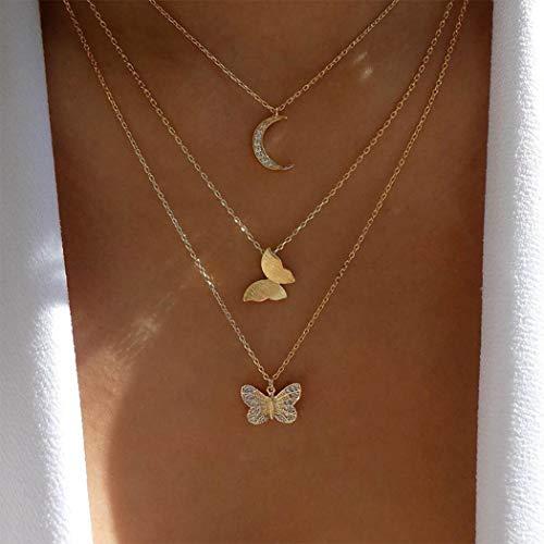 Handcess Boho Collares multicapa Collar con colgante de luna dorada Gargantilla de mariposa con cristal para mujeres y niñas
