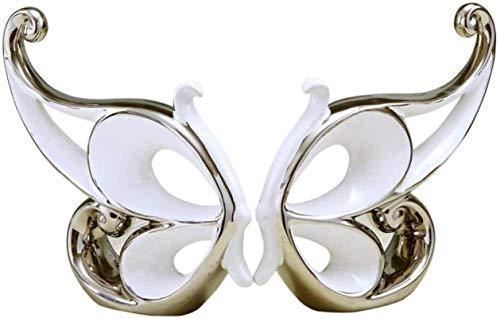 Equipo vivo Estatua Esculturas de cabeza Innovadora estatuilla de mariposa de porcelana Alas de cerámica Amantes de la estatua Regalo Adorno artesanal para el día de San Valentín y decoración de bo