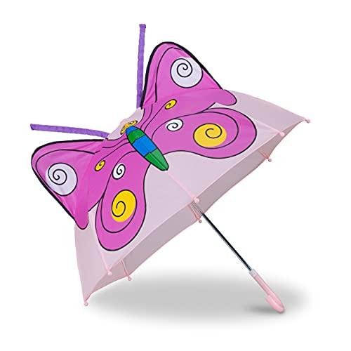 Relaxdays Paraguas Infantil de Mariposa en 3D, Poliéster-Plástico, Rosa, 59 x 8 x 6 cm
