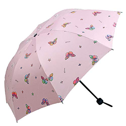 Lirener Paraguas de Cambio de Color, Paraguas Plegable para Viaje con 8 Varillas, Paraguas Mágico, Paraguas Negro antiviento, Compacto y Ligero, Cambio de Color Paraguas, Patrón de Mariposa
