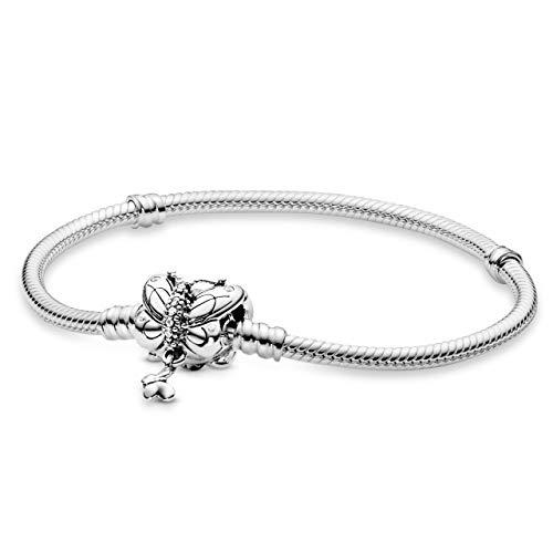 Pandora Pulsera Charm de Mujer, Plata, 19 cm