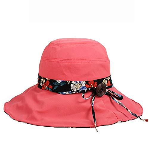 LZMZ2222 Sun Hat/Gorra de protección UV para Mujer Visera de Verano al Aire Libre Gorra de protección Solar Sombrero para el Sol Plegable Vacaciones Vacaciones Sombrero de Playa Grande, Rojo