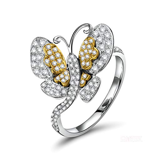 Daesar Anillos de Oro Blanco 18 Kilates Mujer,Mariposa Diamante 0.5ct,Plata Oro Talla 21