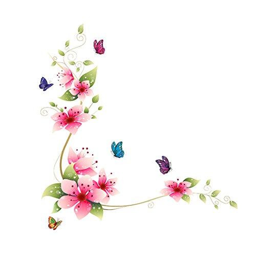 Vinilo adhesivo para pared con diseño de mariposas y flores rosas, de 64 x 62 cm