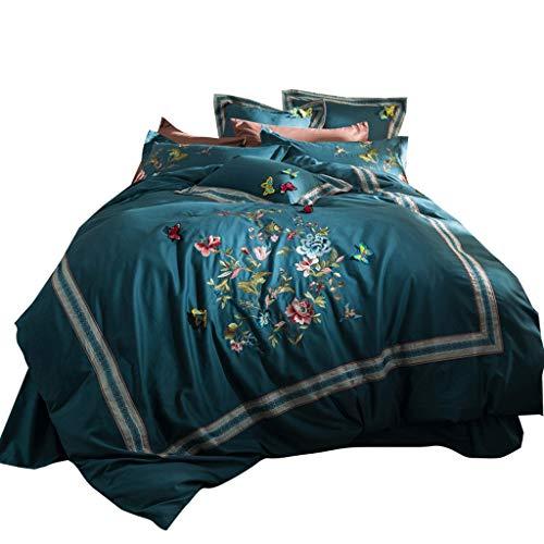 Juegos de sábanas tamaño doble La mariposa azul hoja de cama Ropa de cama de la hoja Set de 4 piezas lecho de la reina de algodón suave cepillado cuidado de la tela fácil con tridimensional Inicio hab