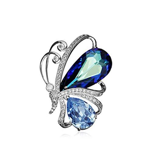 GAOAO Broche de Cristal Swarovski Element, Ramillete de Mariposa de Moda Femenina, Cuello de Flor pequeñaDecorative Ornaments