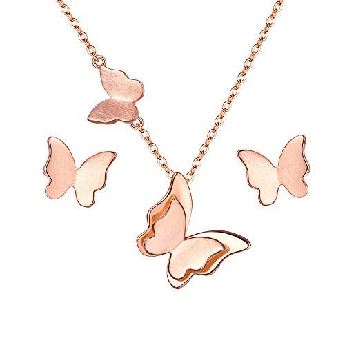 EVER FAITH Juegos de Joyas para Mujer Plata de Ley 925 Mariposa Collares Pendientes Stud Conjunto Tono Oro Rosado