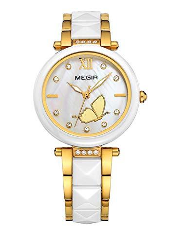 North King Reloj de Cuarzo Relojes visualización Las Mujeres Reloj de Cuarzo cerámica Luminosa Mariposa agradables Relojes para Regalo de cumpleaños de Adultos
