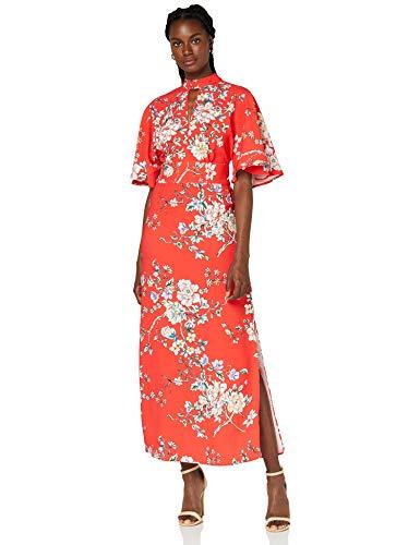 Marca Amazon - TRUTH & FABLE Vestido Mujer Estampado, Multicolor (Red), 46, Label: XXL