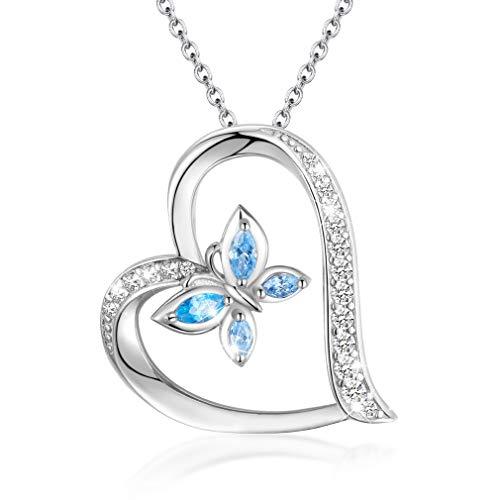 EUDORA Colgante de Mariposa para Collar Corazón Plata de Ley 925, Mujer Collar de Mariposa Regalos Originales para Mujer, Largo de Cadena 45,7cm