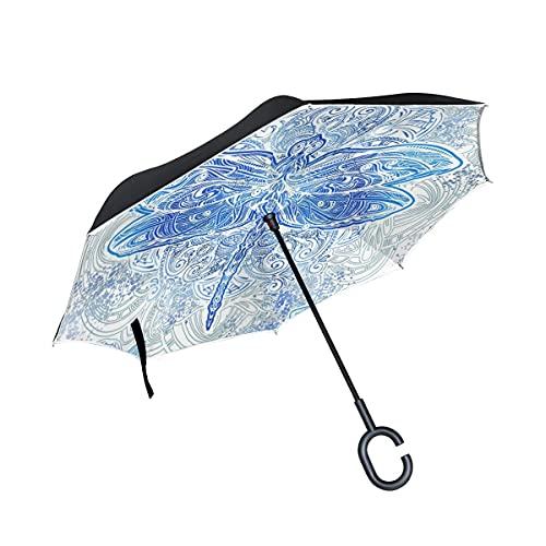 Paraguas plegables Arte Mariposa Azul Abstracto Paraguas Invertido Antiviento Protección contra Rayos UV Ligero Compacto Invertida Paraguas para Coche Viajes Playa Mujeres Niños Niñas