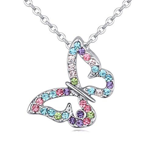 Crystals from Swarovski Multi Colorido pequeña Mariposa Collar con colgante 18k Chapado en oro blanco para mujer 45 cm