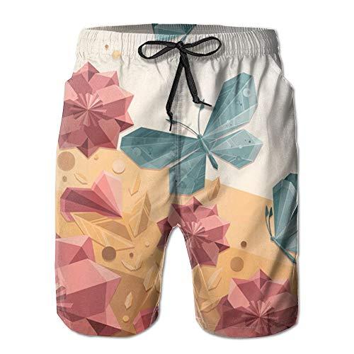 RROOT - Bañador para Hombre, diseño de Mariposas, Estilo Casual, para Surf, Secado rápido, Pantalones Cortos de Playa con Bolsillo Blanco Blanco 2X Grandes