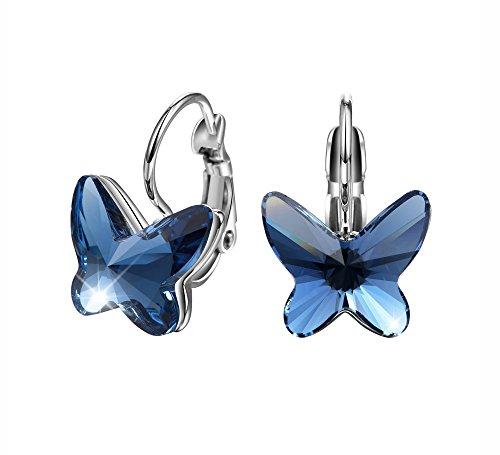 T400 Jewelers Mariposa Hoop Pendientes para Regalo de Mujeres de Cristales Regalo de San Valentín